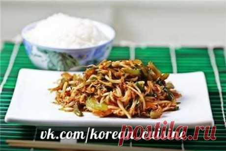 Кимчхи из ростков соевых бобов (кхонънамулькимчхи)  Ингредиенты: 1 кг соевых ростков 100 г зеленого лука Показать полностью…