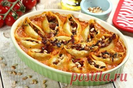 Фаршированные макароны ракушки с курицей – пошаговый рецепт с фото.