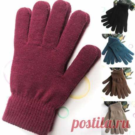 Унисекс ребристые вязаные перчатки с полными пальцами, Классические плотные рукавицы с подкладкой, термоперчатки на запястье для зимы Мужские перчатки