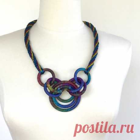 Textile Statement Necklace Kumihimo Cord Midnight от fiber2love