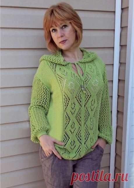 Летний пуловер с капюшоном (Вязание спицами) – Журнал Вдохновение Рукодельницы