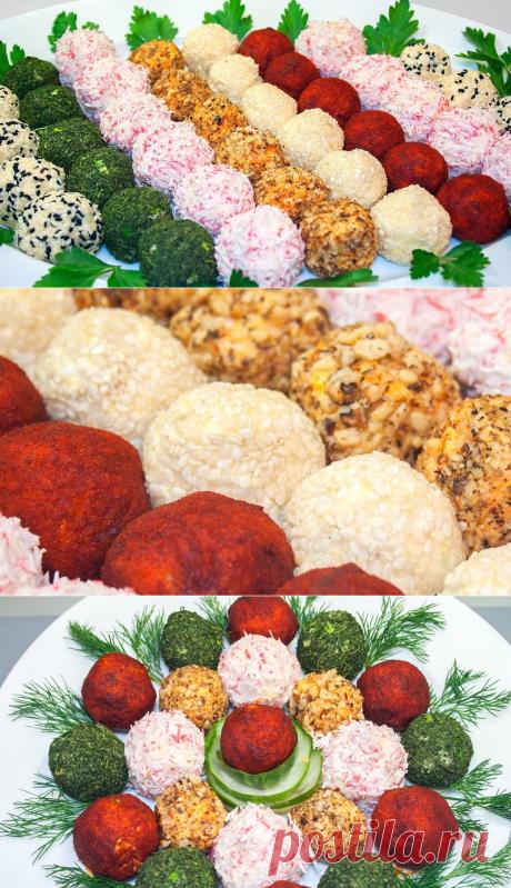 Порционные салатные шарики из свеклы и моркови:
