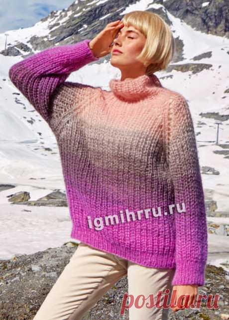 Многоцветный свитер из полупатентной резинки. Вязание спицами со схемами и описанием