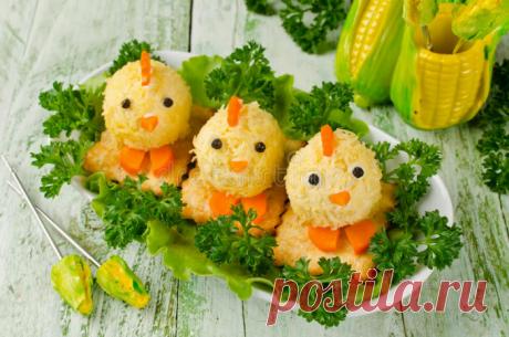 Веселая закуска из сыра «Цыплята», украшай свой праздничный стол