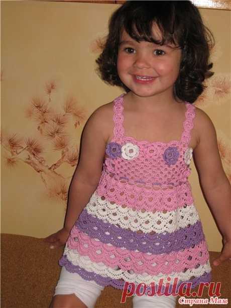 Розовое платье-туника для маленькой принцессы - Вяжем вместе он-лайн - Страна Мам