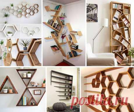 Несколько вариантов создания оригинальных книжных полок | | Для тех, кто любит работать с деревом