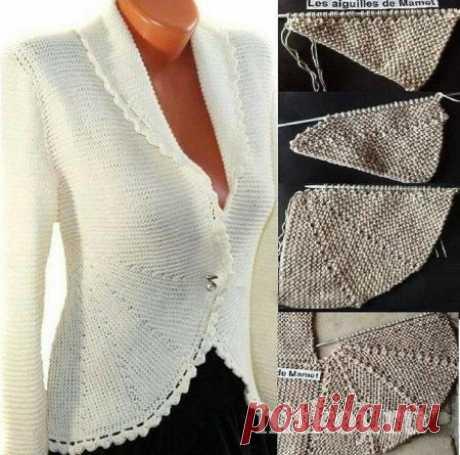 Жакет платочной вязкой » Ниткой - вязаные вещи для вашего дома, вязание крючком, вязание спицами, схемы вязания