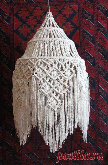 """(47) Fringed Hanging Macramé Lamp ~ Size: 30""""x 15""""   Macrame"""