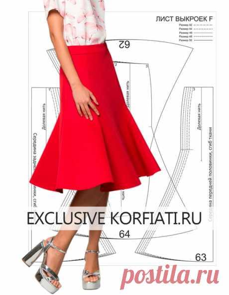 Выкройка юбки-годе для скачивания на 5 размеров от А. Корфиати