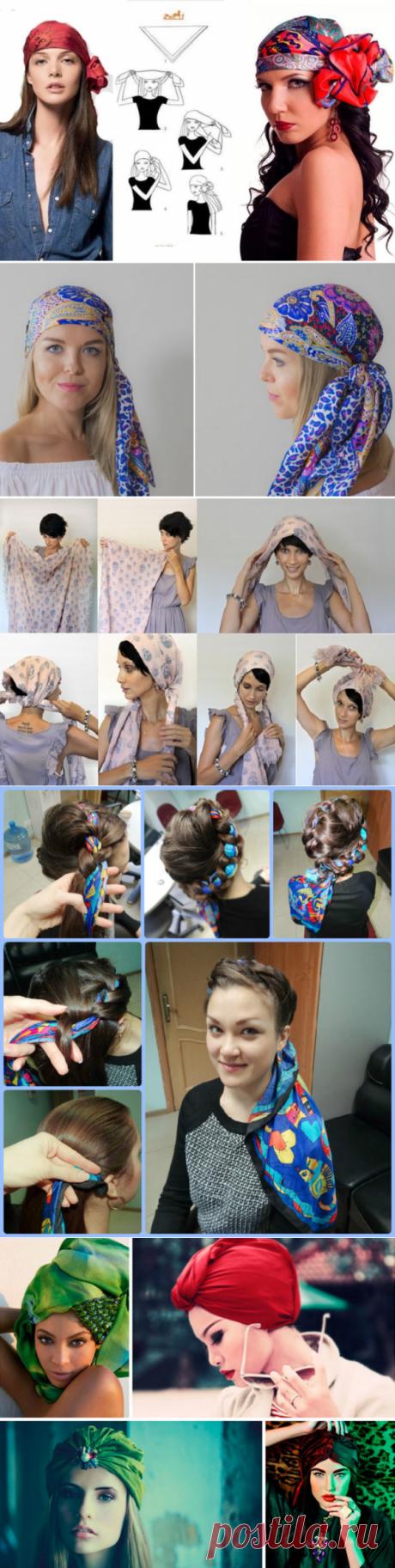 Como atar hermosamente el pañuelo sobre la cabeza en verano