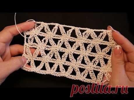 Ажурный узор из звездочек крючком ⭐Star Stitch Crochet pattern