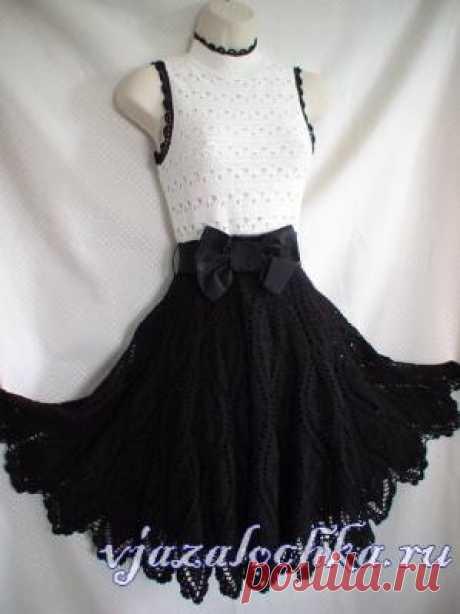 Черно – белое платье крючком