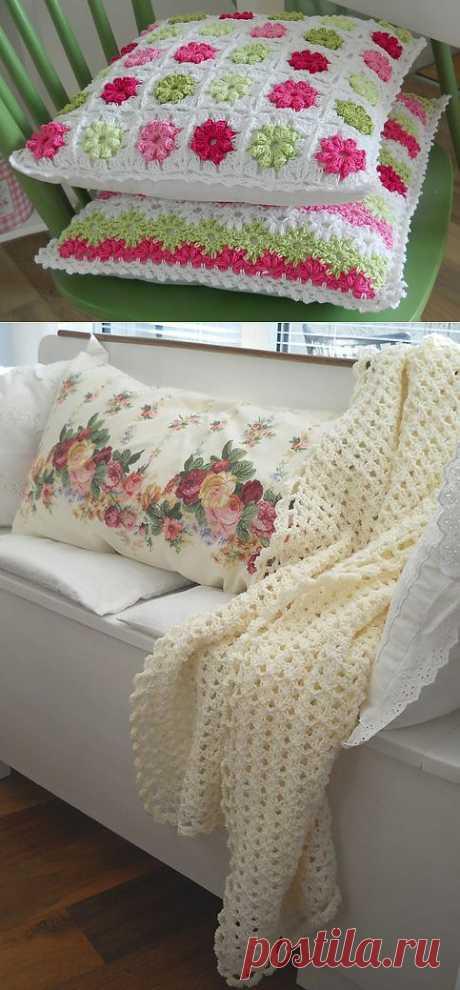 Вяжем крючком. Плед и очень симпатичные подушки.