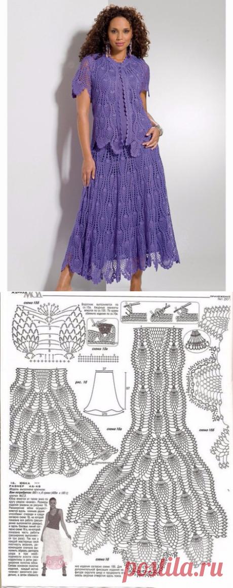 Женский костюм крючком схема и описание. Схемы вязания крючком для женщин   Я Хозяйка