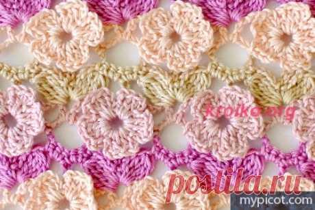Вязание цветочного узора. Цветочный узор крючком для топа