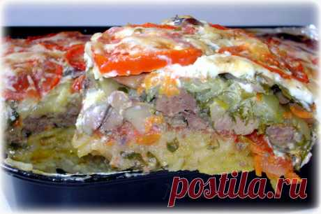 Cool shtukention - vegetable baked pudding with a chicken liver and mushrooms. Tasty, nourishingly, quickly