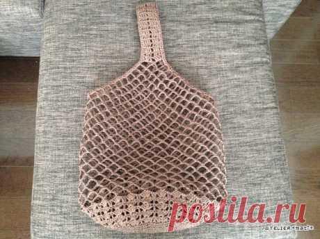 【編み図】ネット編みのワンハンドルバッグ   かぎ針編みの無料編み図 ATELIER *mati*