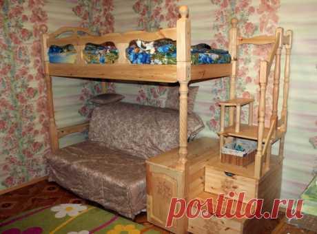 Двухъярусная детская кровать своими руками Добрый день, сейчас расскажу как, я (автор) в гараже сделал двухъярусную кровать.  Всё началось с проекта, исходные данные были следующие: кровать должна быть компактной, надёжной, красивой, раз…