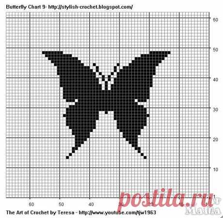 узор бабочки крючком схемы - Google-Suche