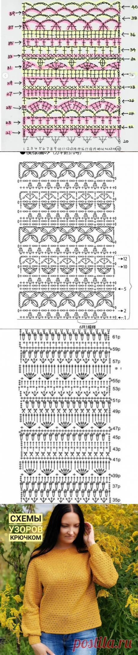 Подборка схем комбинированных узоров