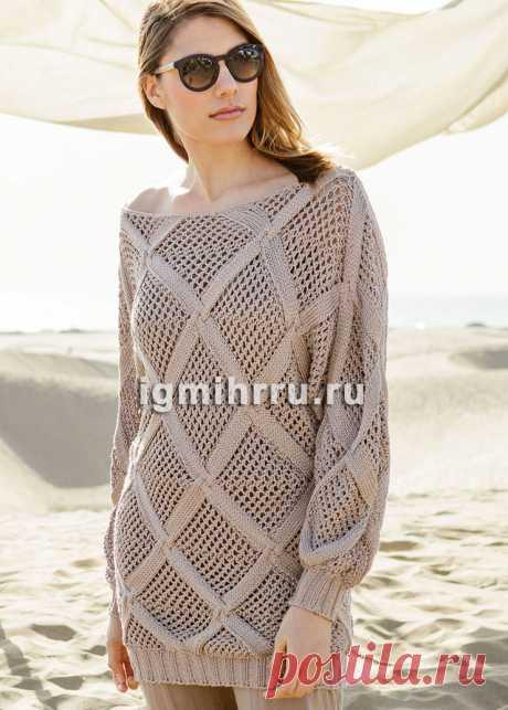 Шелковый пуловер с узором из крупных ромбов и рукавами «летучая» мышь». Вязание спицами