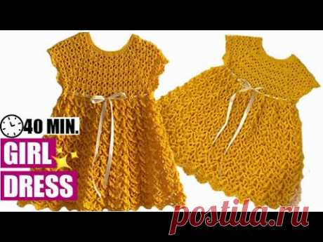HOW TO CROCHET A GIRL DRESS  - EASY AND FAST - BY LAURA CEPEDA