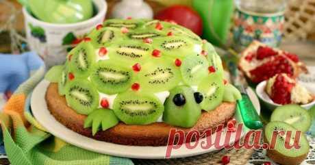 Торт «Изумрудная черепаха»: бисквит и желе в одном десерте