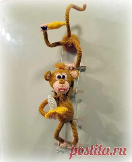 Обезьянки воришки – магнит на холодильник  Автор Анна Тодрин   Обозначения: Сбн- столбик без накида  Показать полностью…