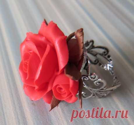 кольцо, объемная роза