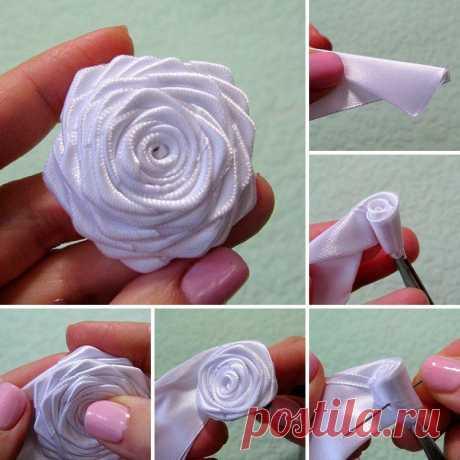 Простой и красивый способ сделать цветы из лент — DIYIdeas