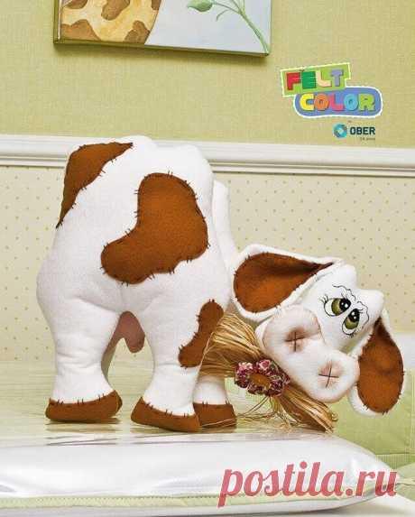 Корова из фетра: подробный фото мастер-класс с выкройкой | ИЗ ФЕТРА | Яндекс Дзен