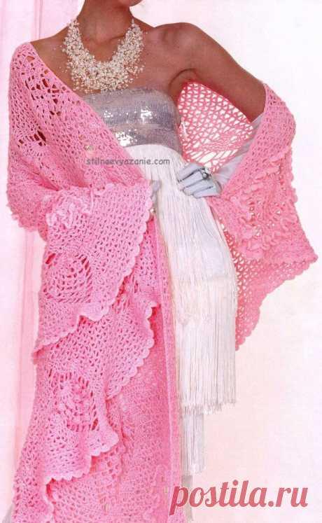 """Шикарная шаль """" Розовые шишки"""""""