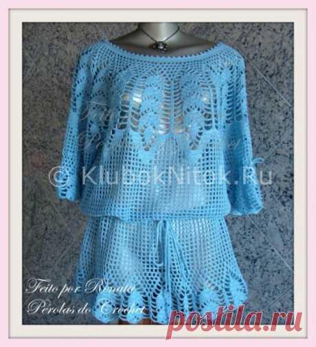 Голубая блуза с круглой кокеткой | Блузы | Вязание спицами и крючком. Схемы вязания.