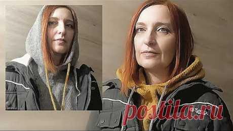 Вязаный КАПОР // МАНИШКА с капюшоном СПИЦАМИ.