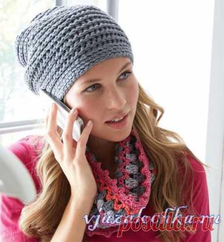 Вязаный комплект: шапочка и шарф крючком