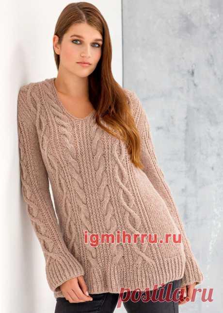 Для полных дам. Розовый пуловер с «косами» и патентным узором. Вязание спицами со схемами и описанием