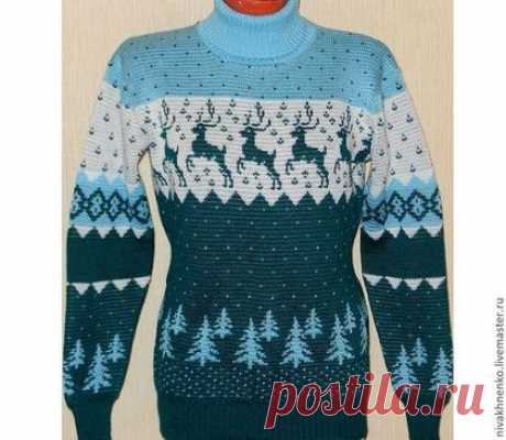 Купить Вязаный свитер Олень с норвежским орнаментом 2 - морская волна, вязание на машине