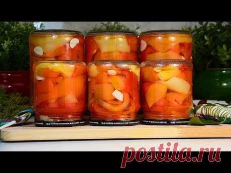 Рецепт: Маринованный болгарский перец с чесноком (на зиму)