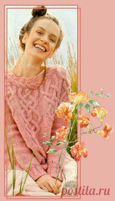 Симпатичный джемпер розового цвета с круглой кокеткой. Спицы.