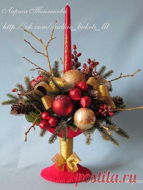 МК по изготовлению вазочки-креманки для новогоднего букета!