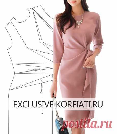 Выкройка платья с асимметричными складками от А. Корфиати Выкройка платья с асимметричными складками. У этого платья очень интересный крой — асимметричные складки создают объемный рельеф, по форме похож на оригами.