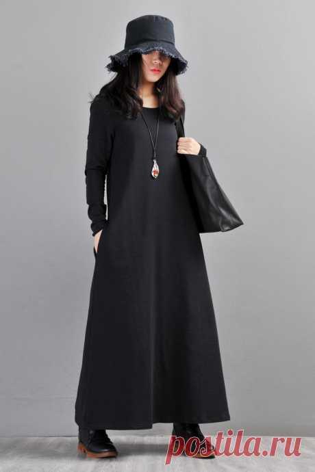 Black Cotton Dress-Scoop Neck Dress-Long Sleeve | Etsy