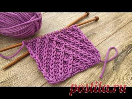 Узор «Рыбий хвост» спицами с переплетениями по центру 🐟 «Fishtail» knitting pattern