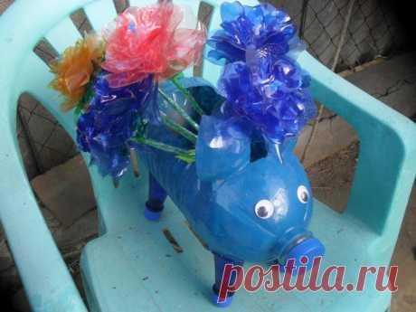Свинки из пластиковых бутылок мастер-класс | РУКОДЕЛИЕ