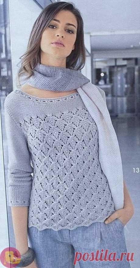 Красивый пуловер с листьями — Сделай сам, идеи для творчества - DIY Ideas