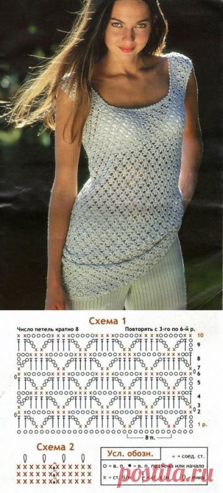 Жемчужная удлиненная майка крючком – схемы и описание вязания из шелка с добавлением люрекса