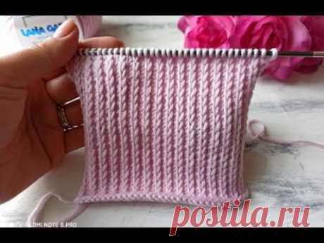 Классный и простой узор спицами для вязания шапок, джемперов, кардиганов.