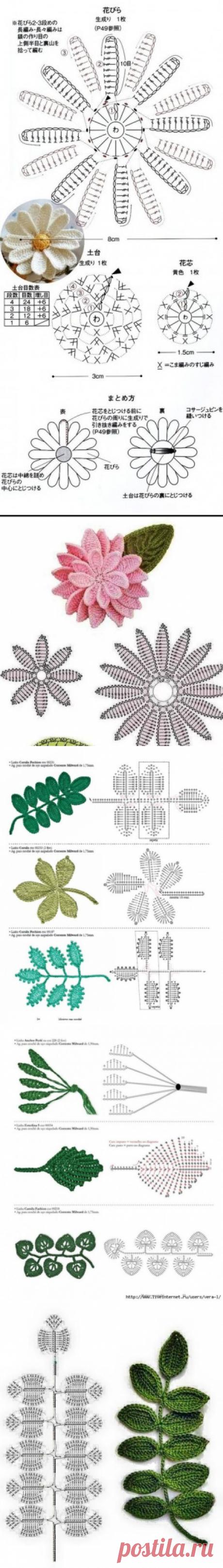 Вязаные цветы, схемы