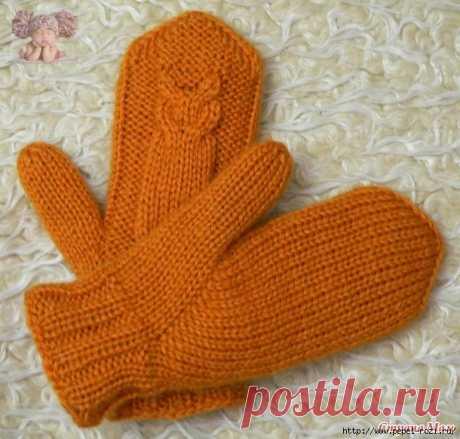 Двойные рукавички СОВЫ спицами