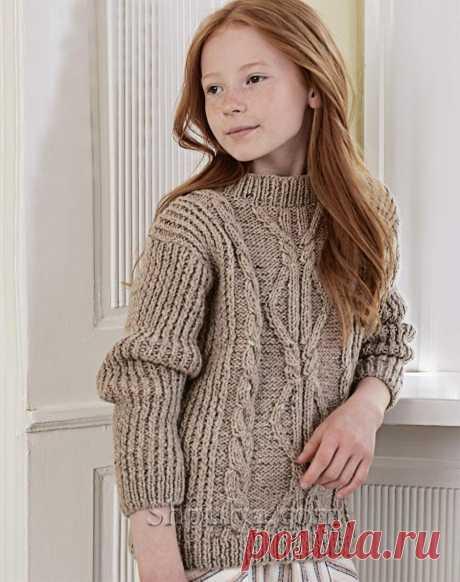Теплый джемпер с косами и ромбами для девочки — Shpulya.com - схемы с описанием для вязания спицами и крючком